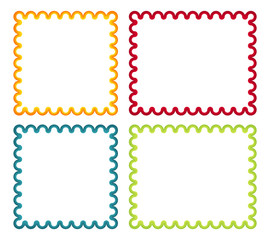 Collection of 4 isolated colorful curl frames