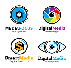 Set of smart media logo, icons and design elements
