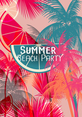 Tropical Background with Palm Tree - Vector Illustration