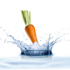 Fresh Carrot With Water Splash