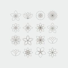 Lineart decorative flowers templates set