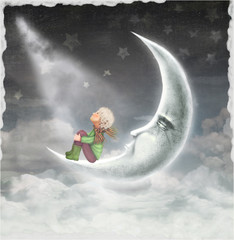 The illustration shows the boy who admires the stars in the  sky