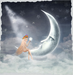 Night. Time of miracles and magic.The illustration shows a girl who is sitting on the moon and the star holds in his hands