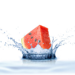 Watermelon Fruit With Water Splash