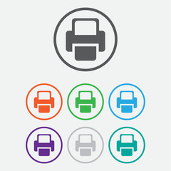 Printer  Vector icon. color icon with frame