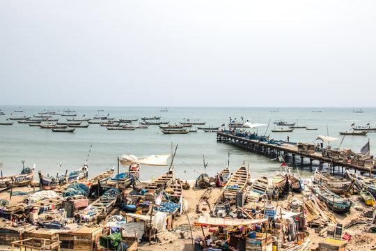 Boats on the coast of Jamestown, Accra, Ghana.