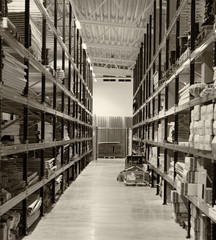 Warehouse storage racks. Black and white.