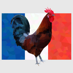 Polygonal gallic rooster on a french flag