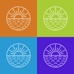 Vector outline sun icons and logo design elements.