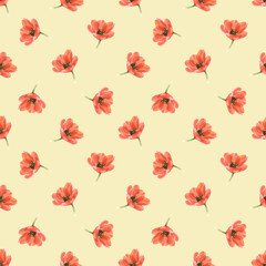 pretty red watercolor tulips on yellow pattern