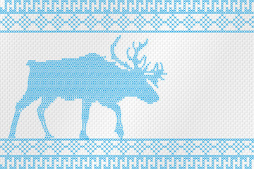 Decorative embroidery on the fabric. Reindeer. Vector illustration.