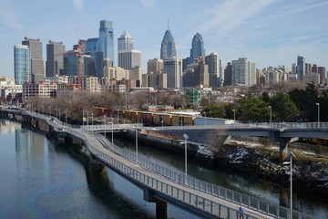 Daytime view over downtown Philadelphia from Schuylkill river side.