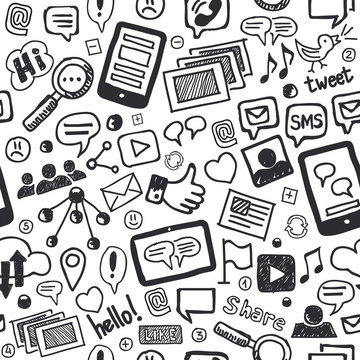 Social Media Doodles Hand Drawn Seamless Pattern