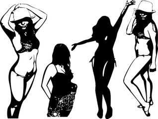 Summer beach vector set of black silhouettes of girls in bathing suits. Women in elegant poses on white background in vector format