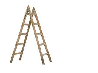 wooden ladder on white background