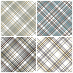 Abstract Tartan Chekered Seamless Pattern Set