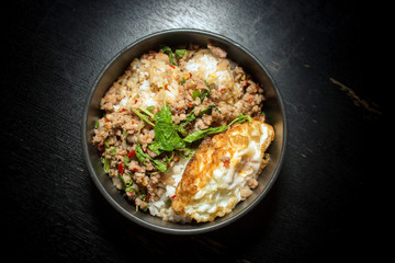 Thai faverite food pork fried rice and fried egg