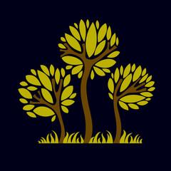 Artistic stylized natural symbol, creative tree illustration.