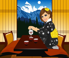 Attractive woman in kimono pouring tea. Interior of traditional japanese interior Kyoto