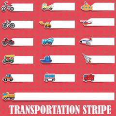 Cute vehicle types on blank stripe