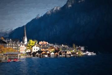 Oil painting austria landscape - village Hallstatt