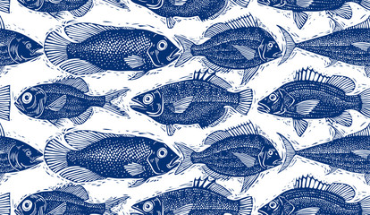 Seamless vector sea pattern, different fish silhouettes.