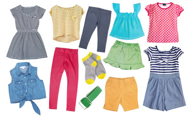 Child girl cotton bright summer clothes set collage isolated.
