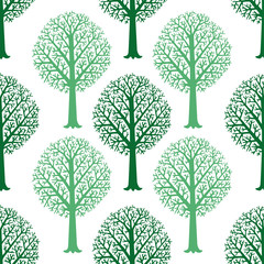 Seamless vector pattern with silhouettes of trees