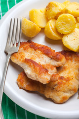 Fried chicken breast fillet on a white plate.