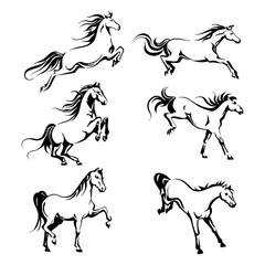 Set with hand-drawing graphic of a running horses