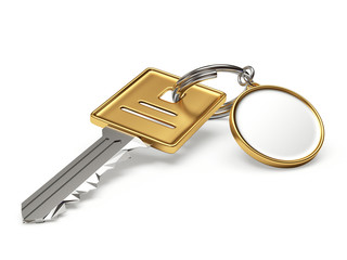 Key with blank round keychain isolated on whit background