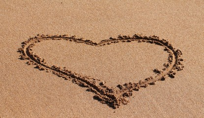 Heart in the sand.