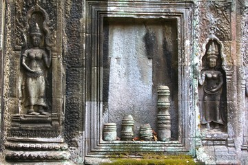 Ta Prohm temple at Angkor, Siem Reap Province, Cambodia was used as a location in the film Tomb Raider