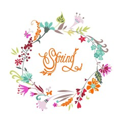 Spring hand drawn floral calligraphic background.