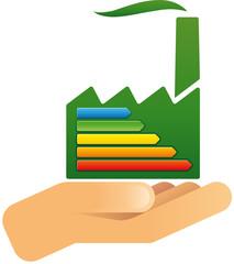 Hand hält Fabrik mit Energieeffizienklassen