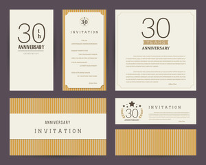 Thirty years anniversary invitation cards template. Vector illustration.