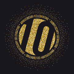 Ten years anniversary celebration golden logotype. 10th anniversary gold logo.