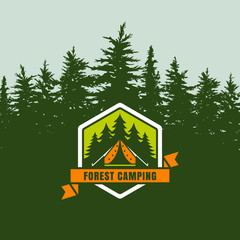 Forest camping logo emblem or label on background with green fir