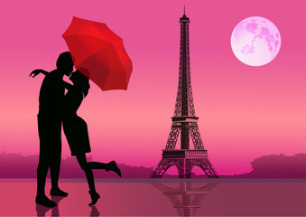 Couple in love under red umbrella. in Paris. With the Eiffel Tower and moon on background. Vector illustration