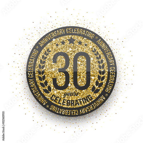 Thirty Years Anniversary Celebration Golden Logotype 30th
