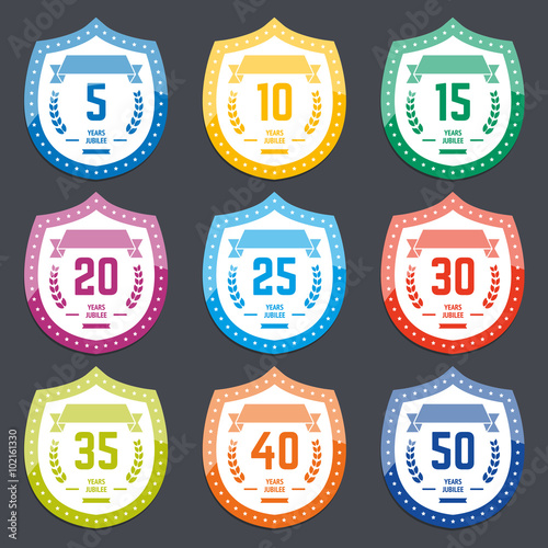 Vector Set Of Anniversary Color Signs Symbols 5 10 15 20 25