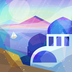 Greece landscape in low poly geometric style. Landscape of ancient temple, mountains, sea, beach, sailboat. Vector illustration for web and mobile phone and print.