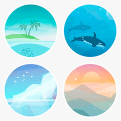 4 Landscape vector illustrations in low poly geometric style. Icons of tropical island, underwater fauna, iceberg, mountains at sunset. Nature eco illustration
