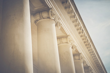 Pillars with Vintage Style Filter and Sunlight