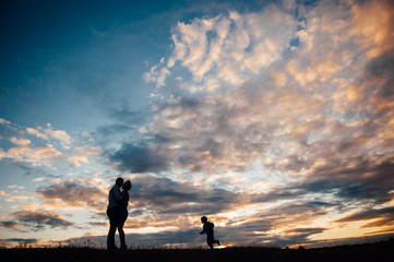 Couple lover holiday happy silhouette sky sunset with shifty children