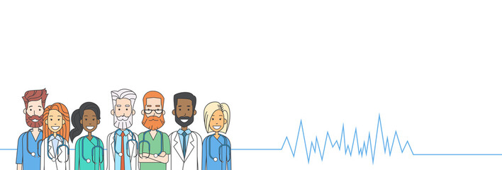 Group Medial Doctors Heart Rate Pulse Team Copy Space Banner Vector Illustration