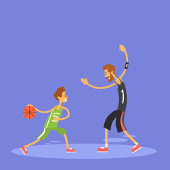 School Boy Playing Basketball Sport Game Flat Vector Illustration