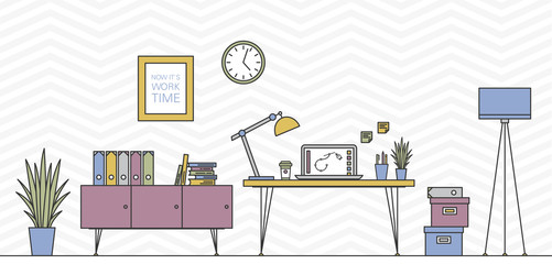 Thin Line Work Space Vector Illustration with Table, Laptop, etc