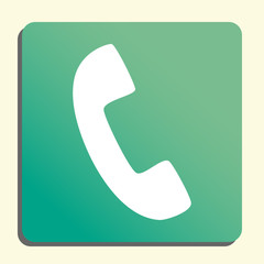 phone icon, on button style green background, yellow light, shadow