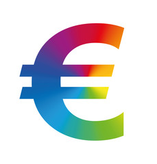 Euro symbol colorful european business - isolated vector illustration on white background.